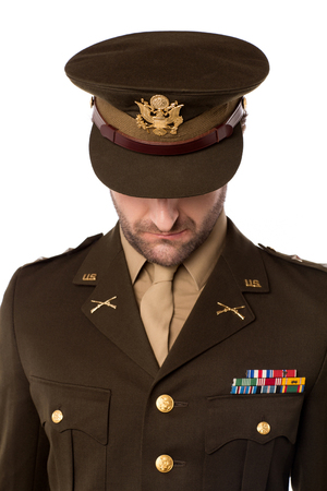 colonel: Army officer bow down pose Stock Photo