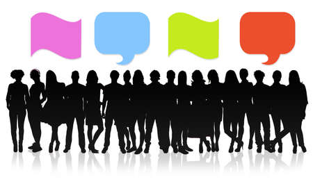 Group of people with speech bubbles photo