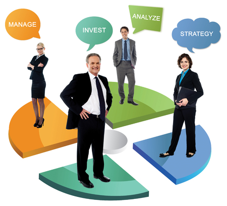 Business people with position standing over pie chart photo
