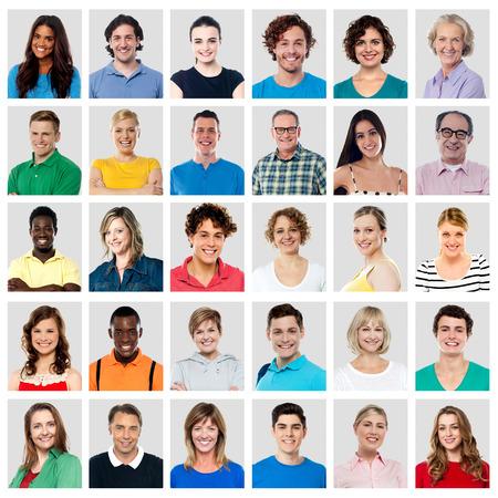 Verzameling van een multi-etnische mensen met een brede glimlach Stockfoto