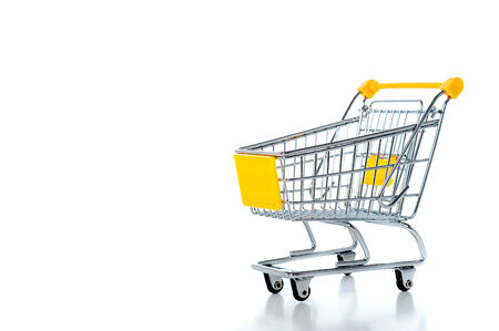 empty shopping cart: Empty shopping cart, isolated on white