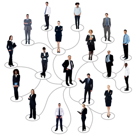 Businessman with friends connected in social network photo