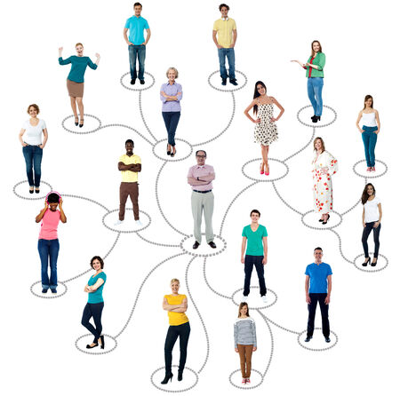 Group of people connected in social network, over white photo