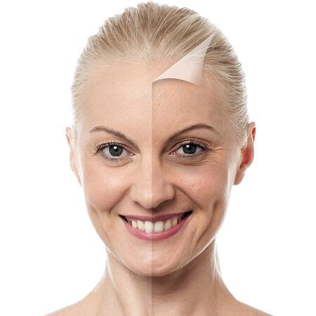 Gesicht der schönen Frau vor und nach der Retusche Standard-Bild