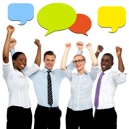 Successful business people with colorful speech bubbles photo
