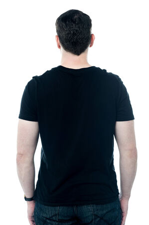 Back view of middle aged in casual attire Stock Photo