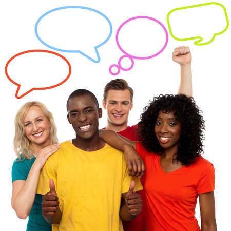 Diverse people with colorful dialog speech bubbles photo