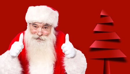thumbsup: Santa claus gesturing thumbsup against christmas tree Stock Photo