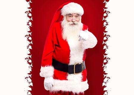 saint nick: Santa pointing towards the camera and inviting you