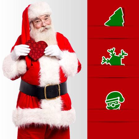 saint nick: Santa-claus with xmas vectors besides him