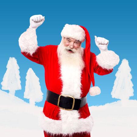 saint nick: Santa dancing and enjoying his time admist the snow