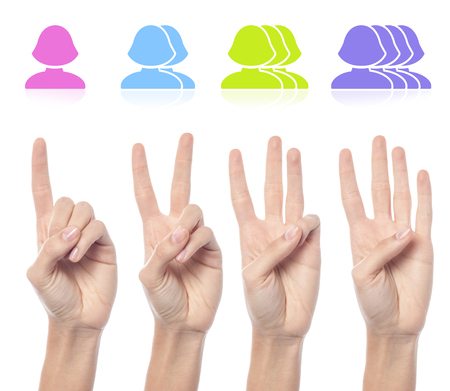 Counting woman hands with female smileys