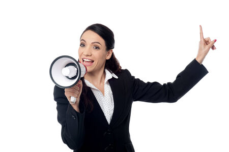 loudhailer: Corporate woman with loudhailer and pointing
