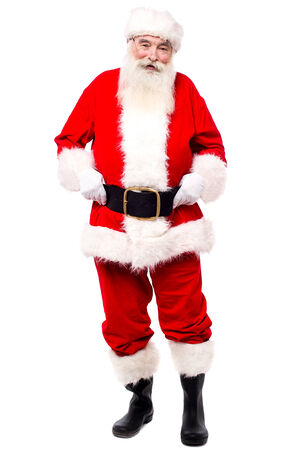 saint nick: Full length image of santa claus standing over white Stock Photo