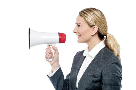 loudhailer: Corporate woman make advertising with loudhailer