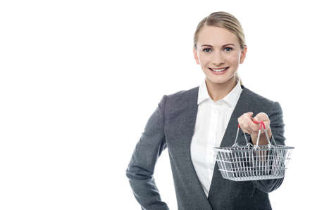 woman shopping cart: Woman holding shopping cart, e-commerce concept. Stock Photo