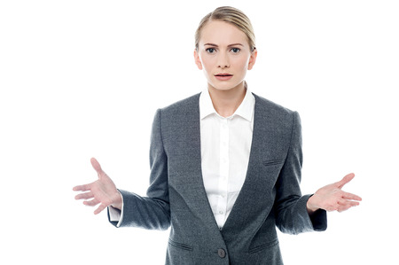 facing to camera: Business woman in tension facing camera Stock Photo