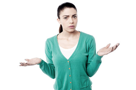 wide open spaces: Surprised woman posing to camera over white background