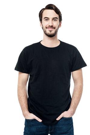 casually: Casual man posing casually over white
