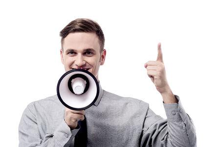 loudhailer: Executive making an announcement over loudhailer Stock Photo