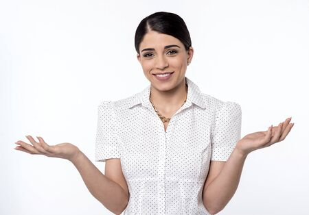 wide open: Surprised woman with her arms wide open