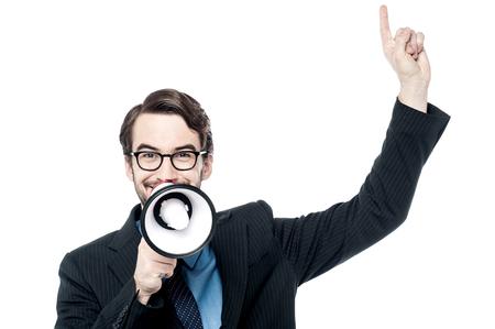 loudhailer: Happy corporate man making advertiemnet with loudhailer