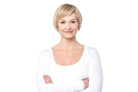 woman posing: Confident middle aged woman posing to camera