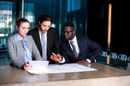 Corporate people discussing their next project Stock Photo