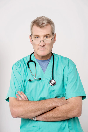 Confident male doctor stethoscope around his neck