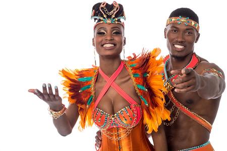 half length: Half length of samba dancer pointing to camera Stock Photo