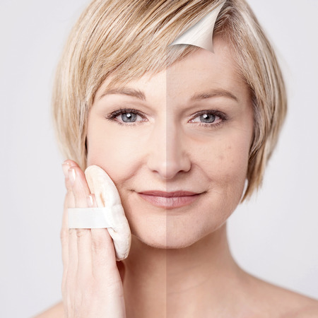 rejuvenation: Comparison portrait of a woman with and without makeup Stock Photo