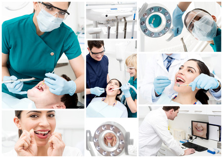 a dentist: Dentist collage with different views at stomatology clinic