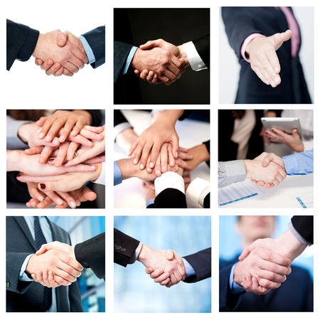 efforts: Collage of business deals and team work efforts