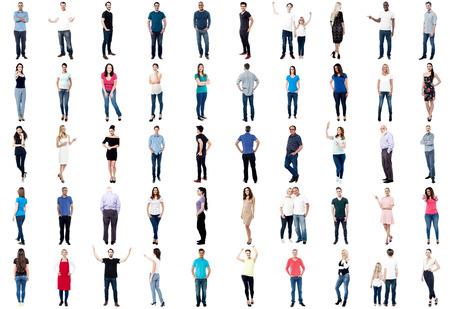 personas reunidas: Conjunto de personas de moda aislado en el fondo blanco