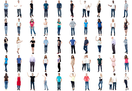 Set of trendy people isolated on white background photo