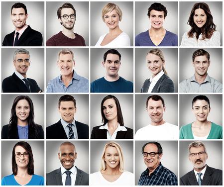 caras: Composición de las diferentes personas que sonríe