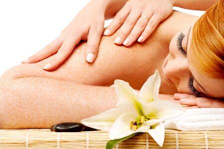 lastone therapy: Young beautiful woman enjoying spa massage Stock Photo
