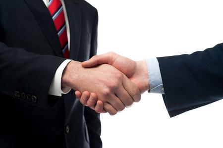posing  agree: Cropped image of businessmen handshaking Stock Photo