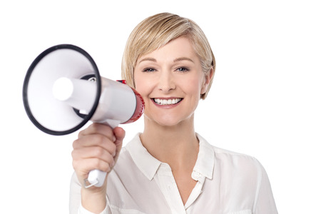 speaker: Woman speaker proclaiming into megaphone