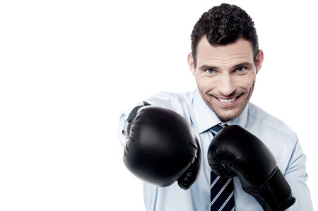 pugilist: Happy businessman ready to fight with boxing gloves Stock Photo