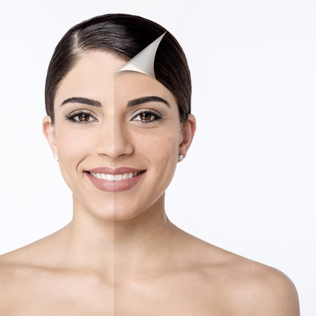 Comparison portrait of a smiling woman without and with makeup Imagens