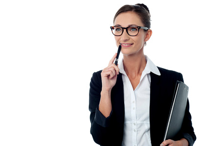 day dreaming: Business woman with folder and day dreaming