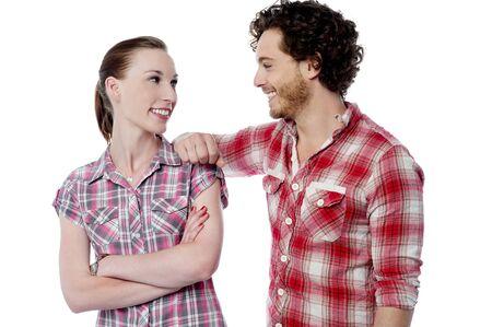 Pretty woman talking to his boyfriend photo