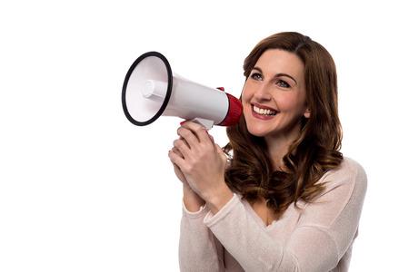 loudhailer: Woman make advertising with loudhailer