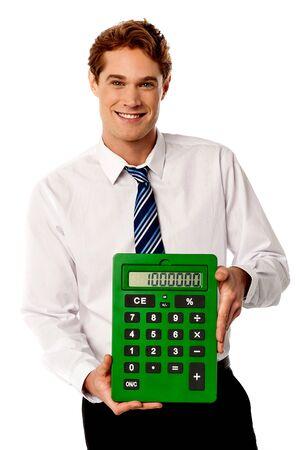 account executive: Male accountant showing a big green calculator