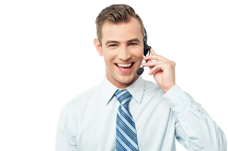 headset help: Young call center executive with headset Stock Photo
