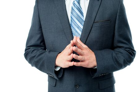 clasped hand: Cropped image of businessman hand clasped