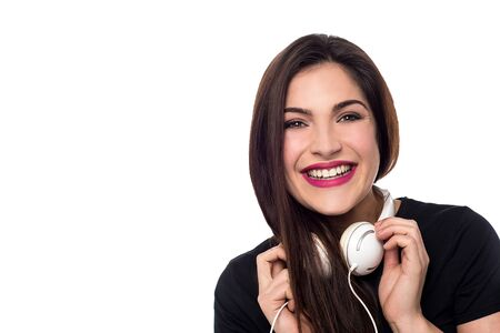ear phones: Happy young woman with in headphones