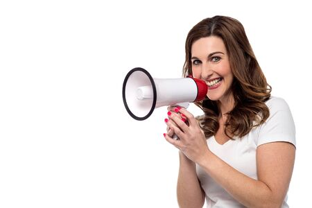 loudhailer: Woman make advertising with loudhailer over white Stock Photo