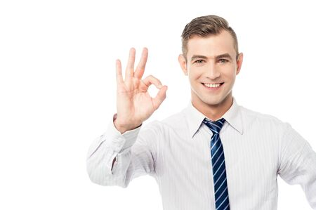 posing  agree: Smiling businessmen showing ok sign Stock Photo